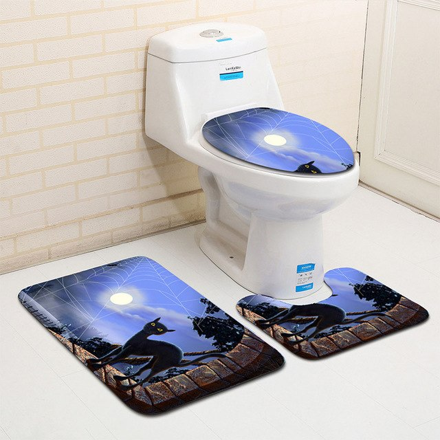 Halloween Black Cat Toilet Seat Cover and Rug