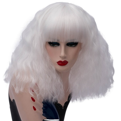 High Quality Wavy Short White Wig With Bangs