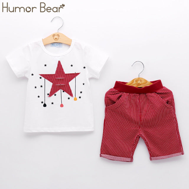 New Summer Kids Clothing Sets Stripe Colorful T-Shirt