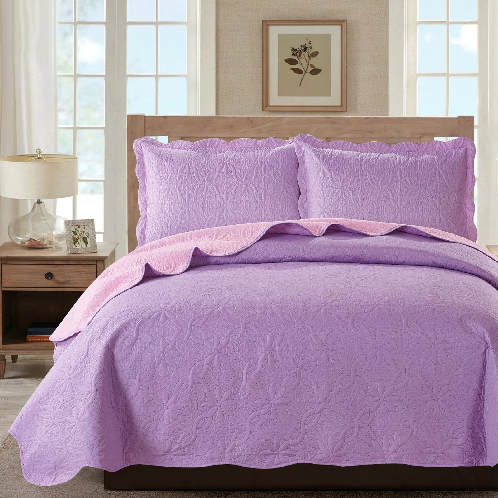Sherry - 3 Piece - Solid Reversible Quilt Set - Lilac
