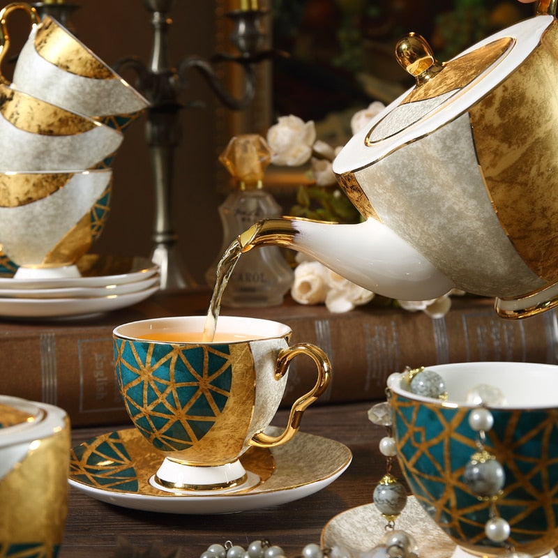 Luxury Bone China Tea Cup Saucer Spoon Set 250ml Coffee Cup Gold