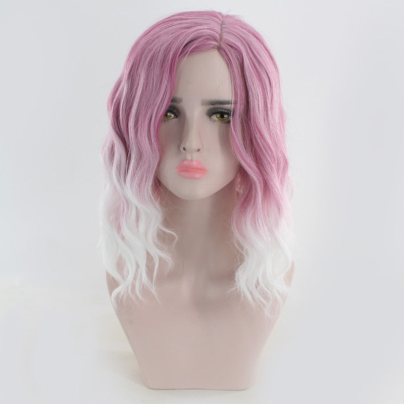 Medium Long Wavy Pink White Ombre Wig Synthetic