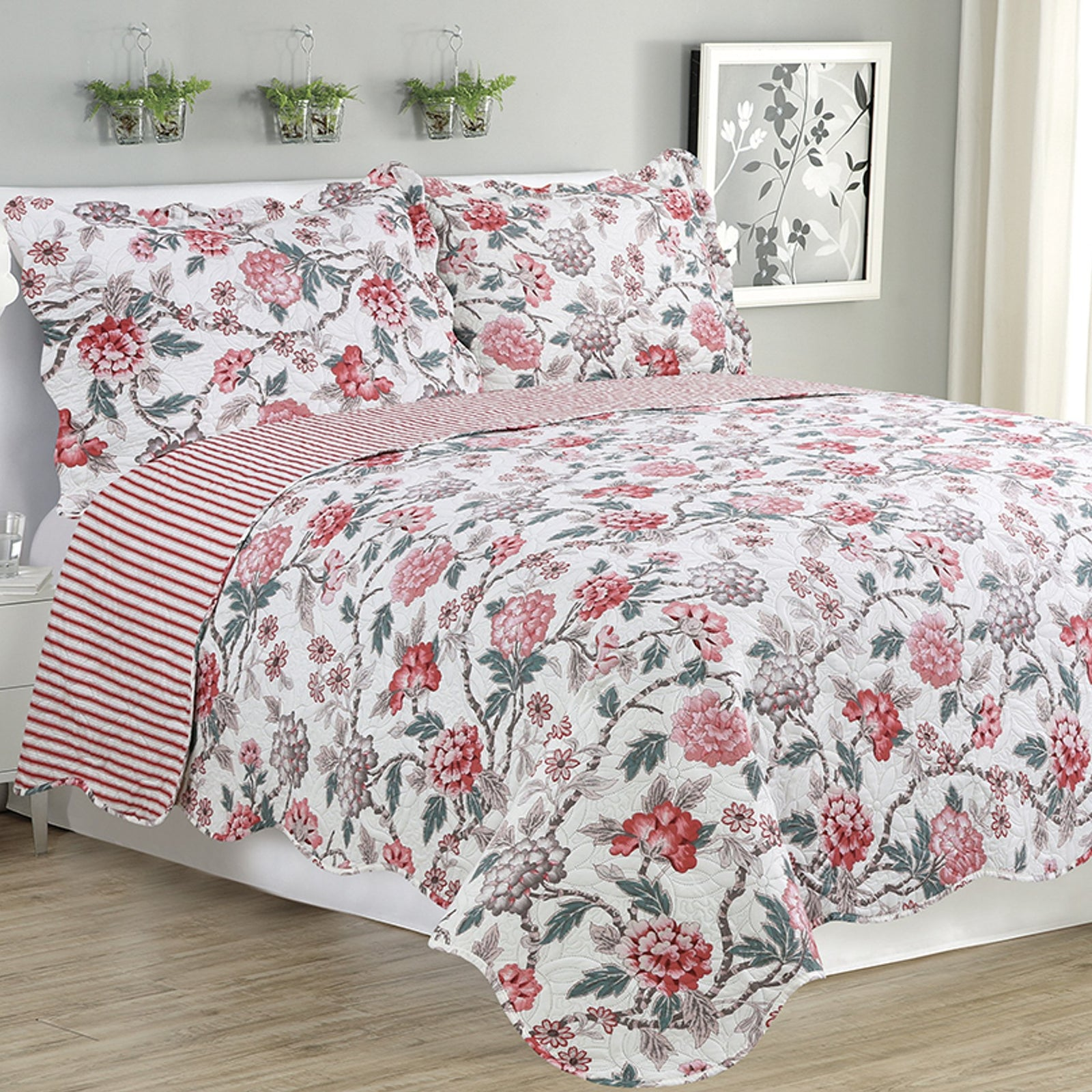 Melissa - 3 Piece Quilt Set - Multi Color Rose