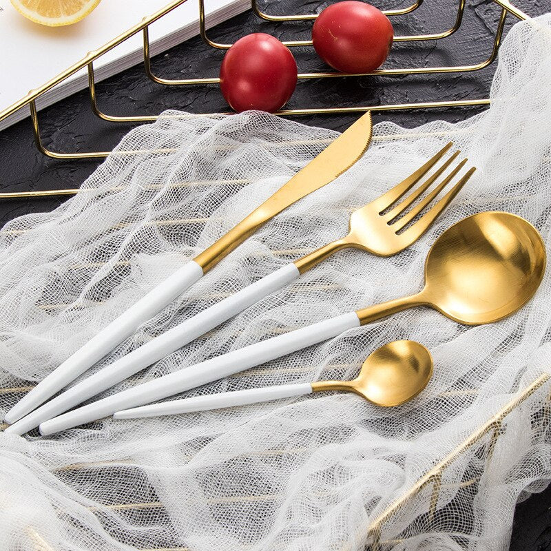 New Dinnerware Set Stainless Steel Black Handle Gold Cutlery Set