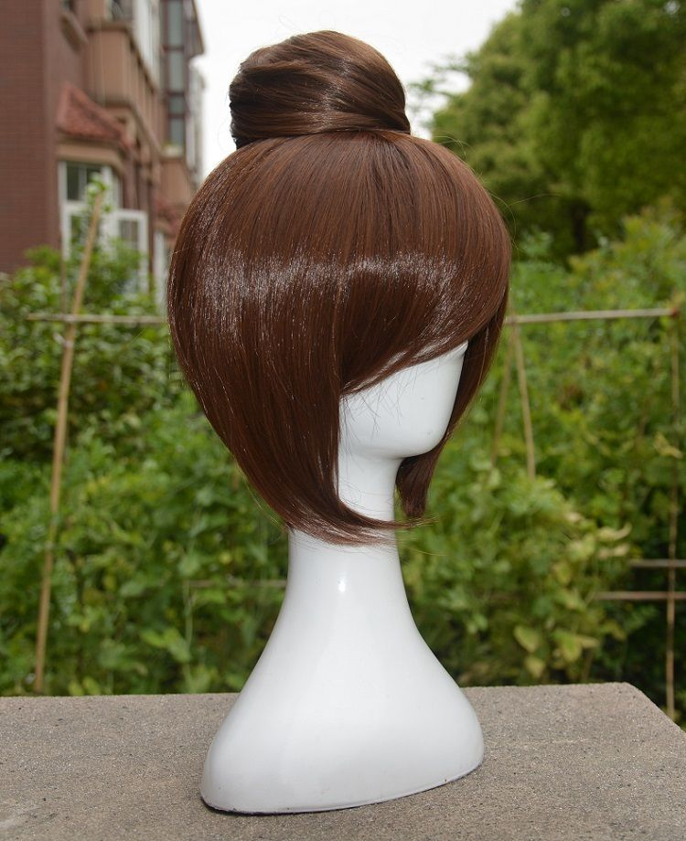 OW Mei Wig Heat Resistant Fiber Short Brown