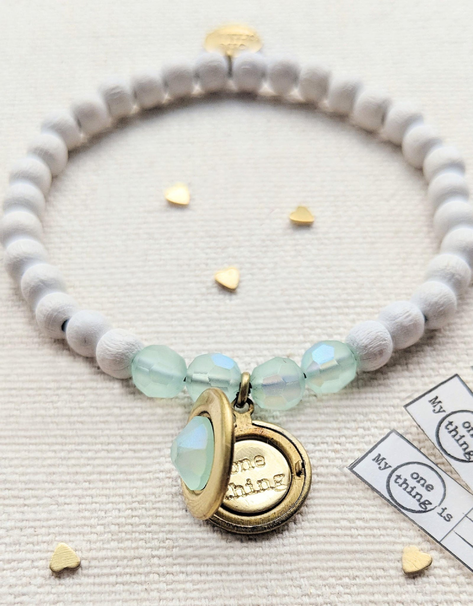 "KIDS! - ""PASTEL MERMAID"" SWAROVSKI & WHITE WOOD LOCKET BRACELET"