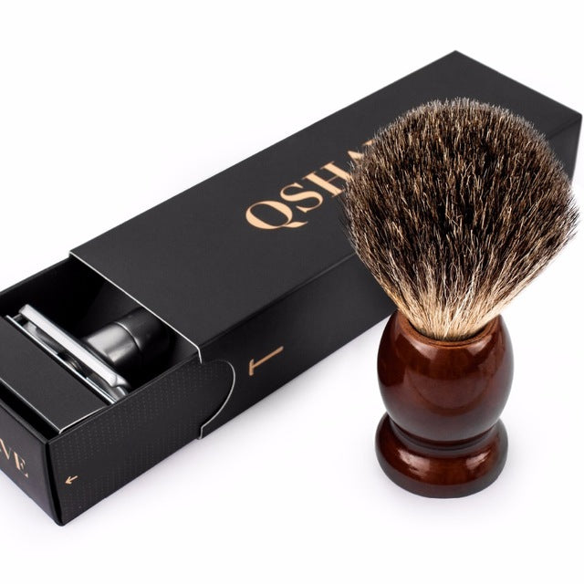 Qshave Classic Safety Razor With 100% Pure Badger