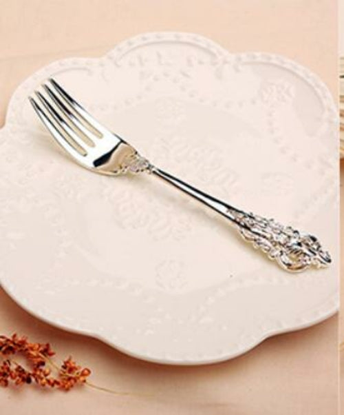 Retro Silver Spoon Fork Set Western Style Dinnerware Stainless Steel