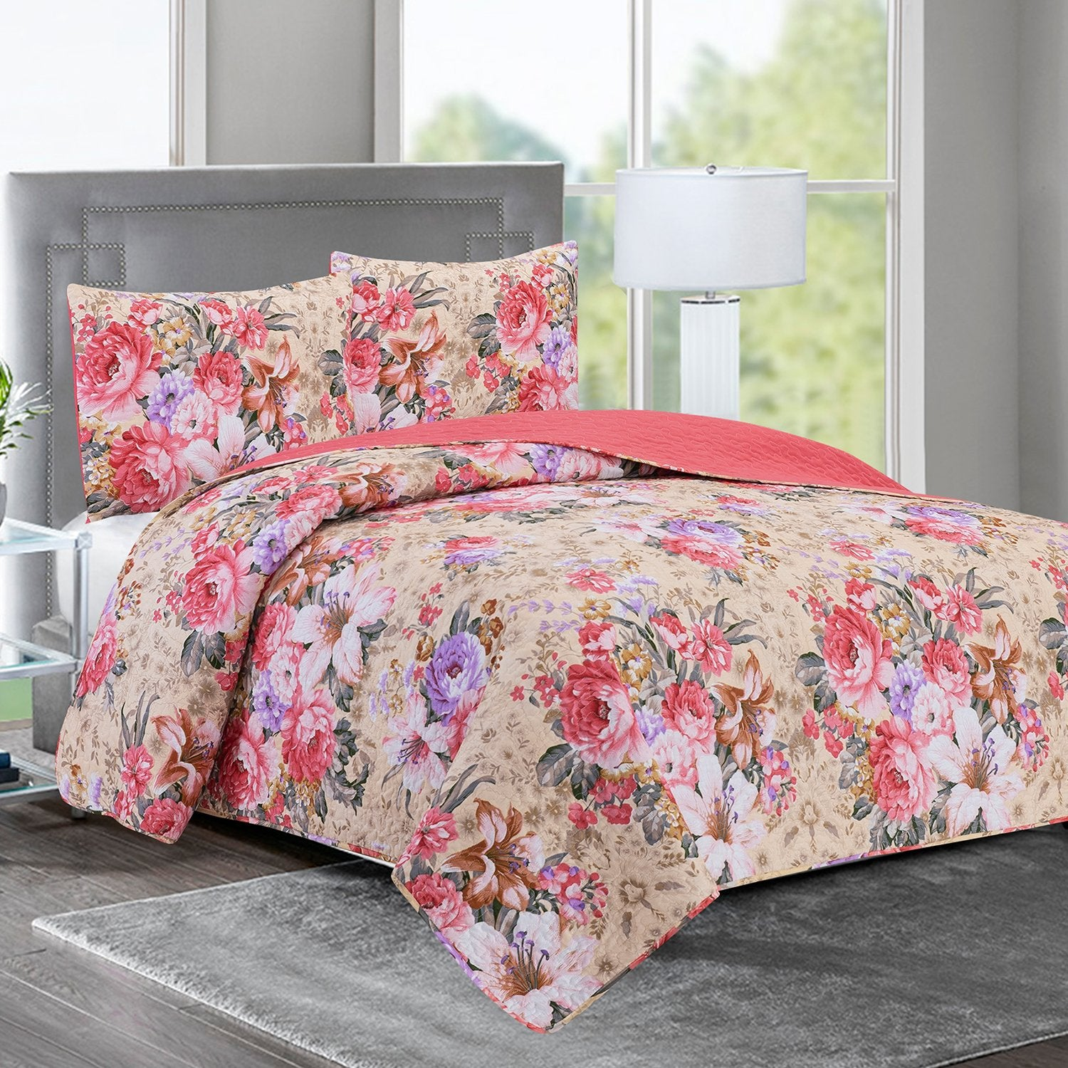 Elisa - 3 Piece Reversible Quilt Set - Rose Garden