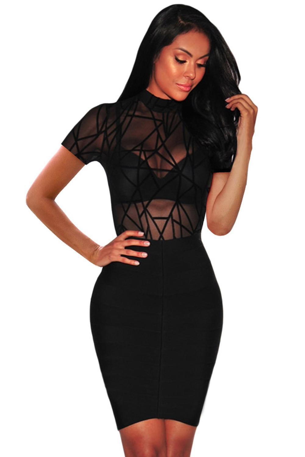 Short Sleeve Mock Neck Sheer Black Mesh Bodysuit