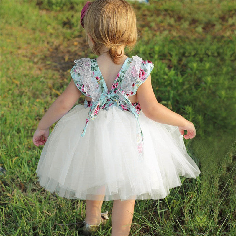 Toddler Baby Girls Dress Floral Print Party Ball