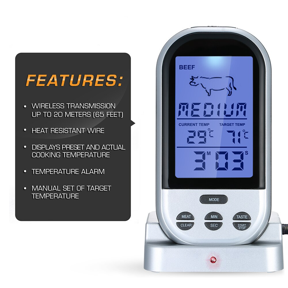 Wireless Meat Thermometer With Probe Lcd Display