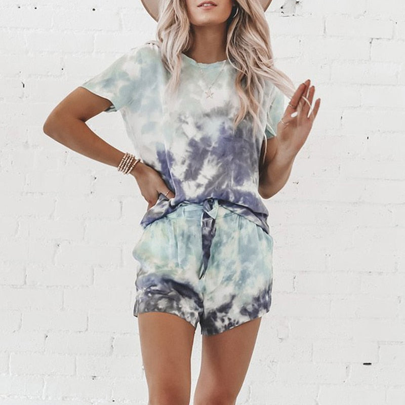 Short Sleeve Pullover Crew Neck Top+High Waist Drawstring Shorts