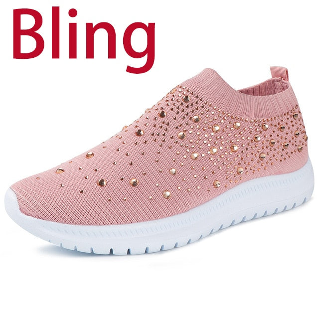 Women Flats Sneakers Crystal Fashion