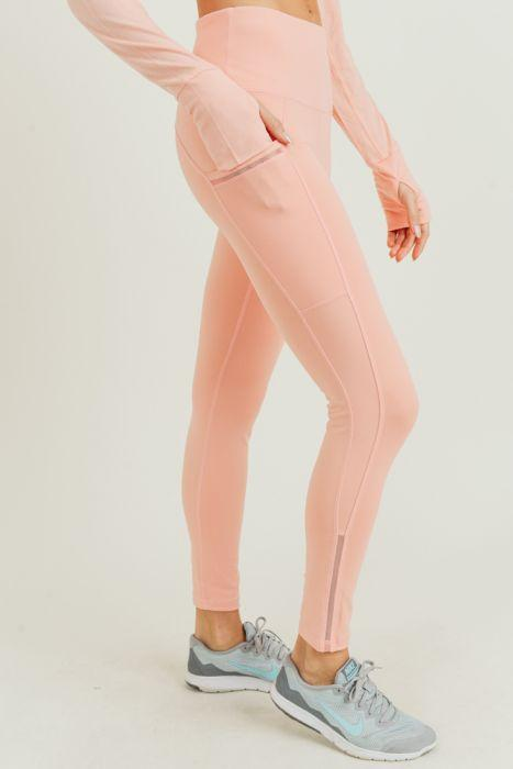 Highwaist Side-Mesh & Slit Full Leggings - Cantaloupe