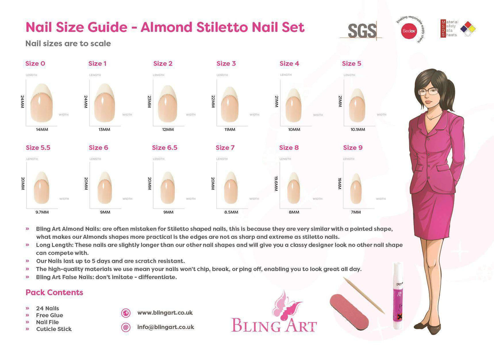 False Nails by Bling Art Purple Silver Almond