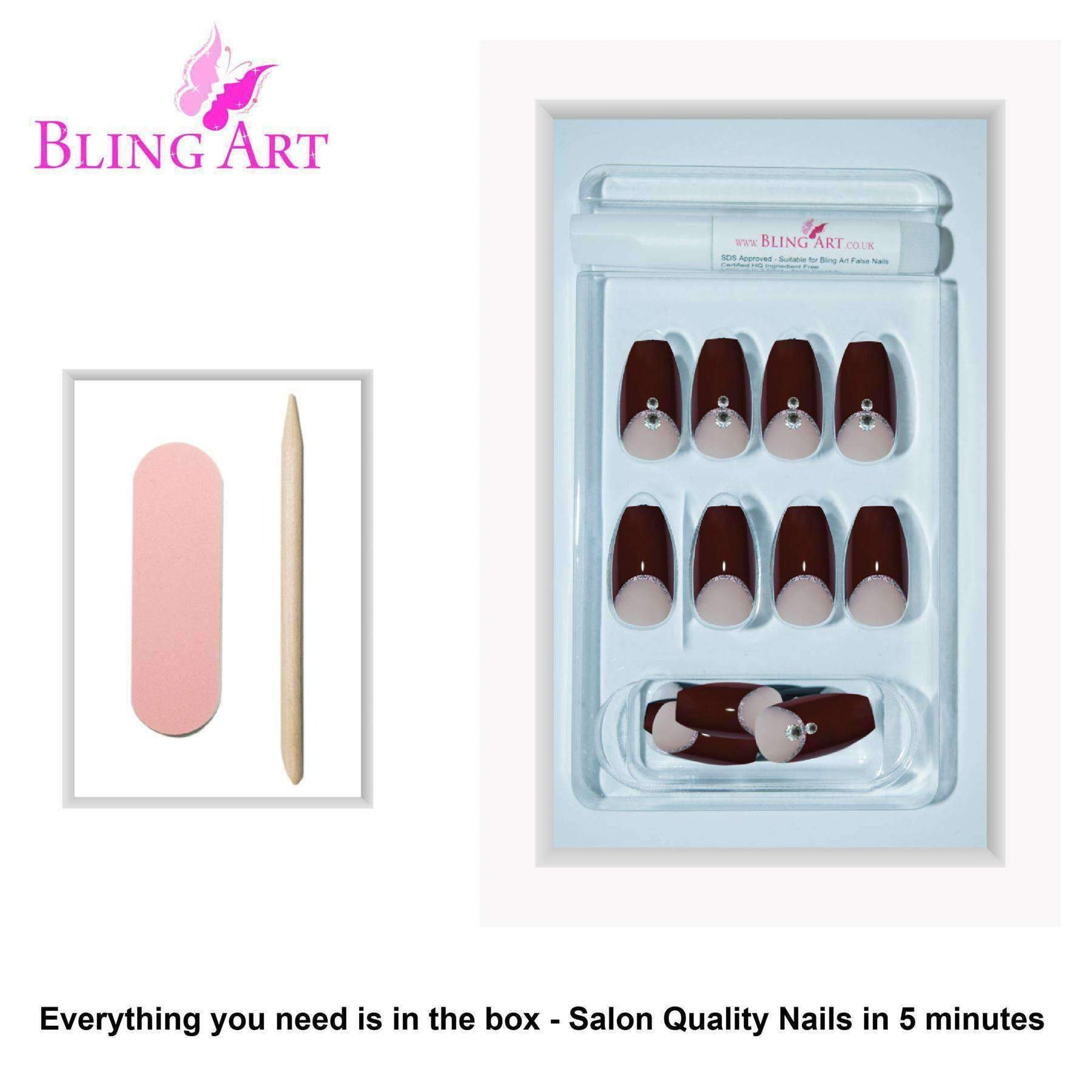 False Nails by Bling Art Red Crystal Polished Ballerina Coffin Long