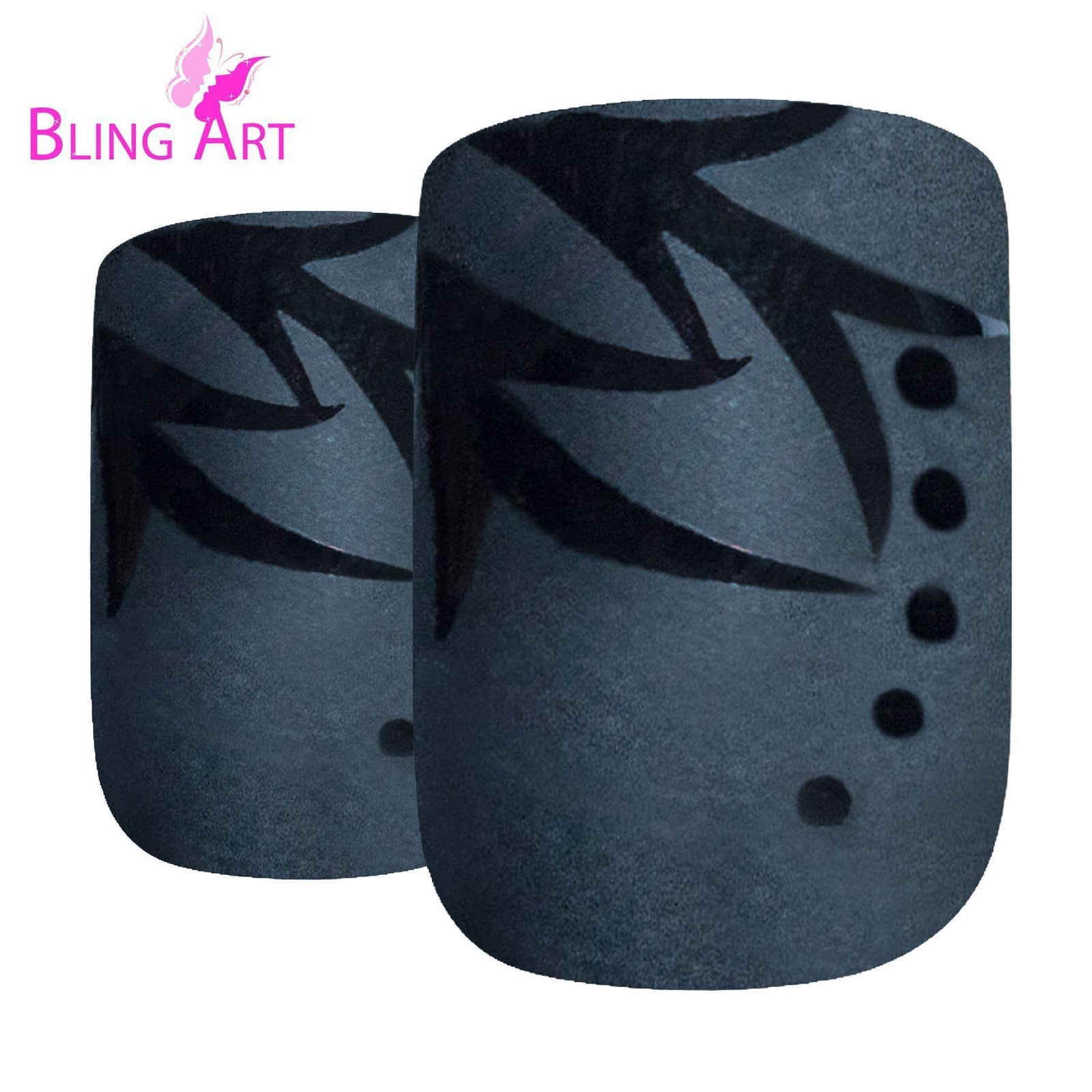 False Nails by Bling Art Black Leaf Matte French Squoval 24 Fake