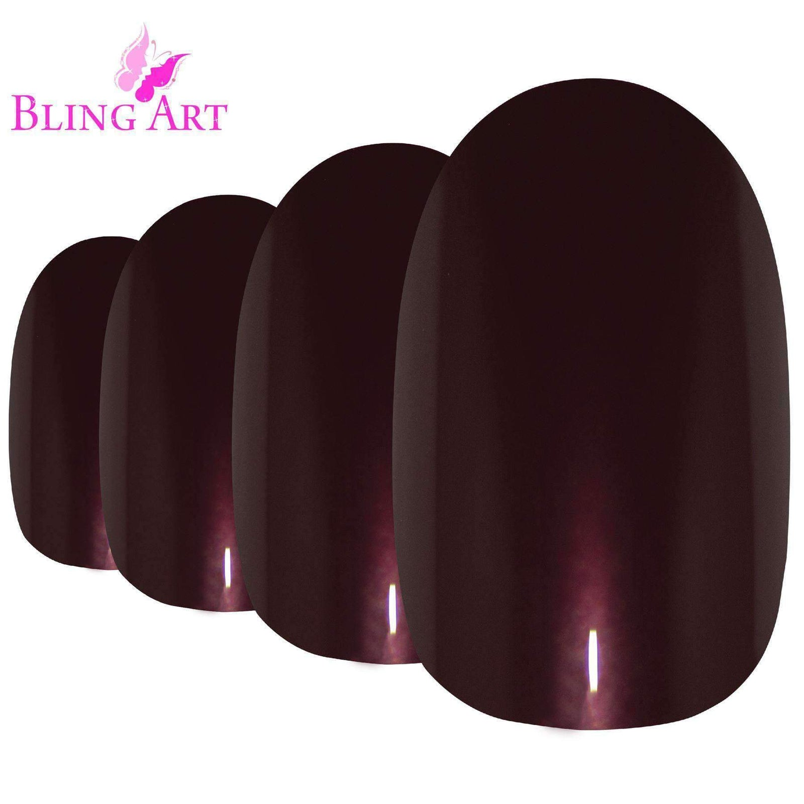 False Nails by Bling Art Brown Glitter Oval Medium Fake Acrylic 24