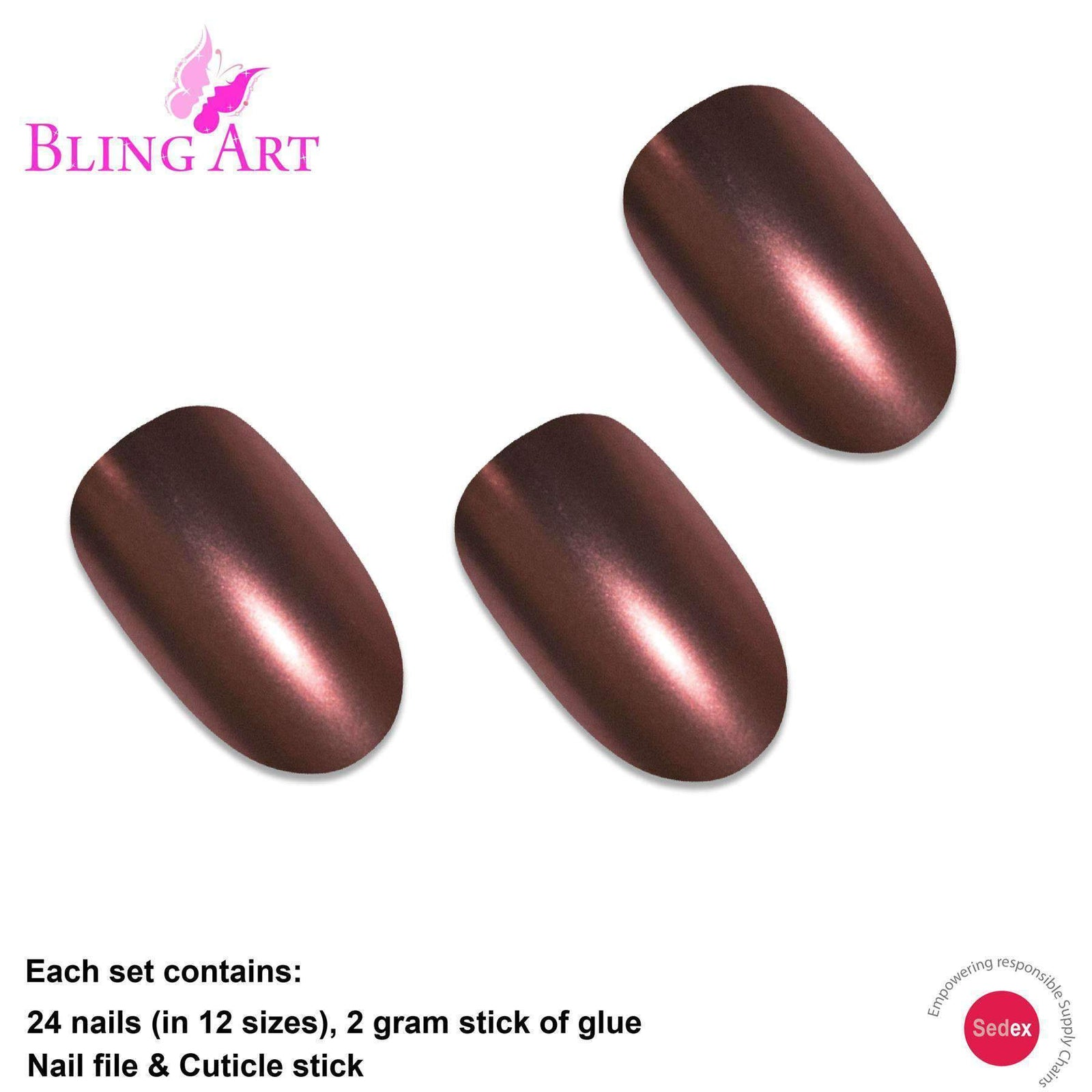 False Nails by Bling Art Brown Matte Metallic Oval