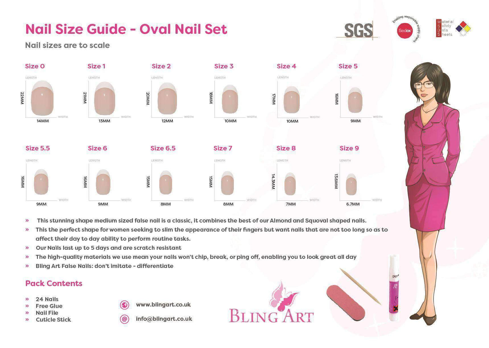 False Nails by Bling Art Pink Matte Oval Medium
