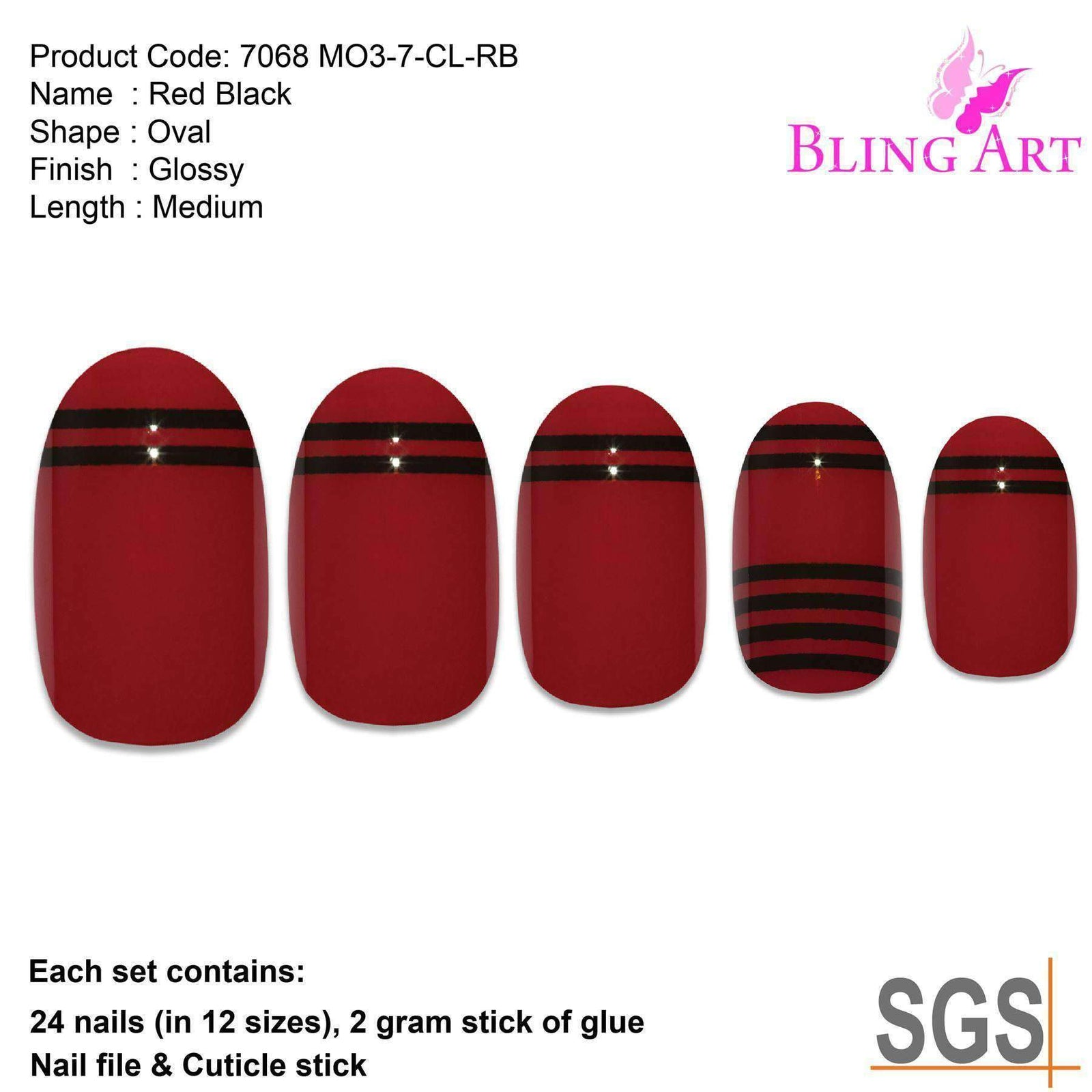 False Nails by Bling Art Red Black Glossy Oval