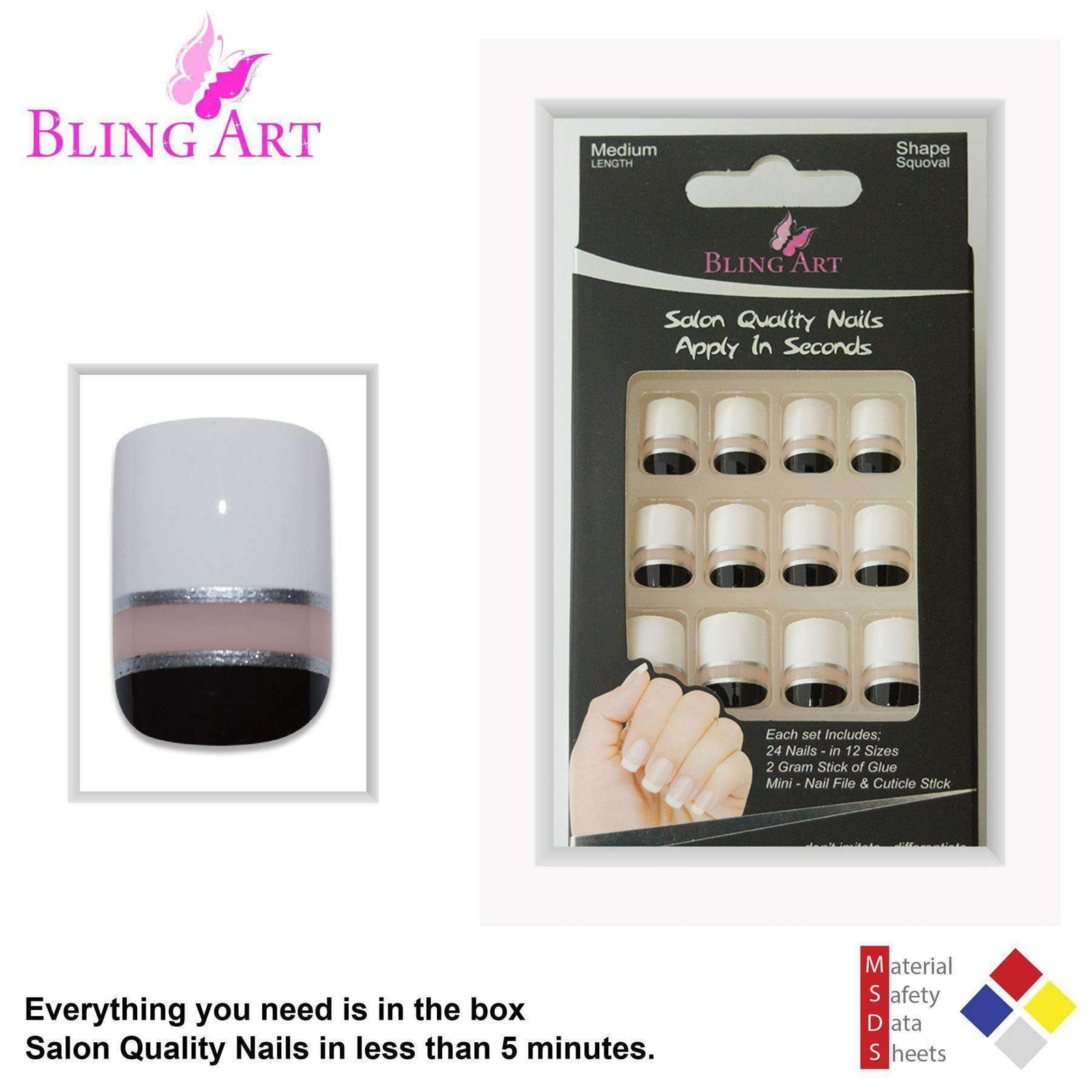 False Nails by Bling Art Black White Glossy French Squoval 24 Fake