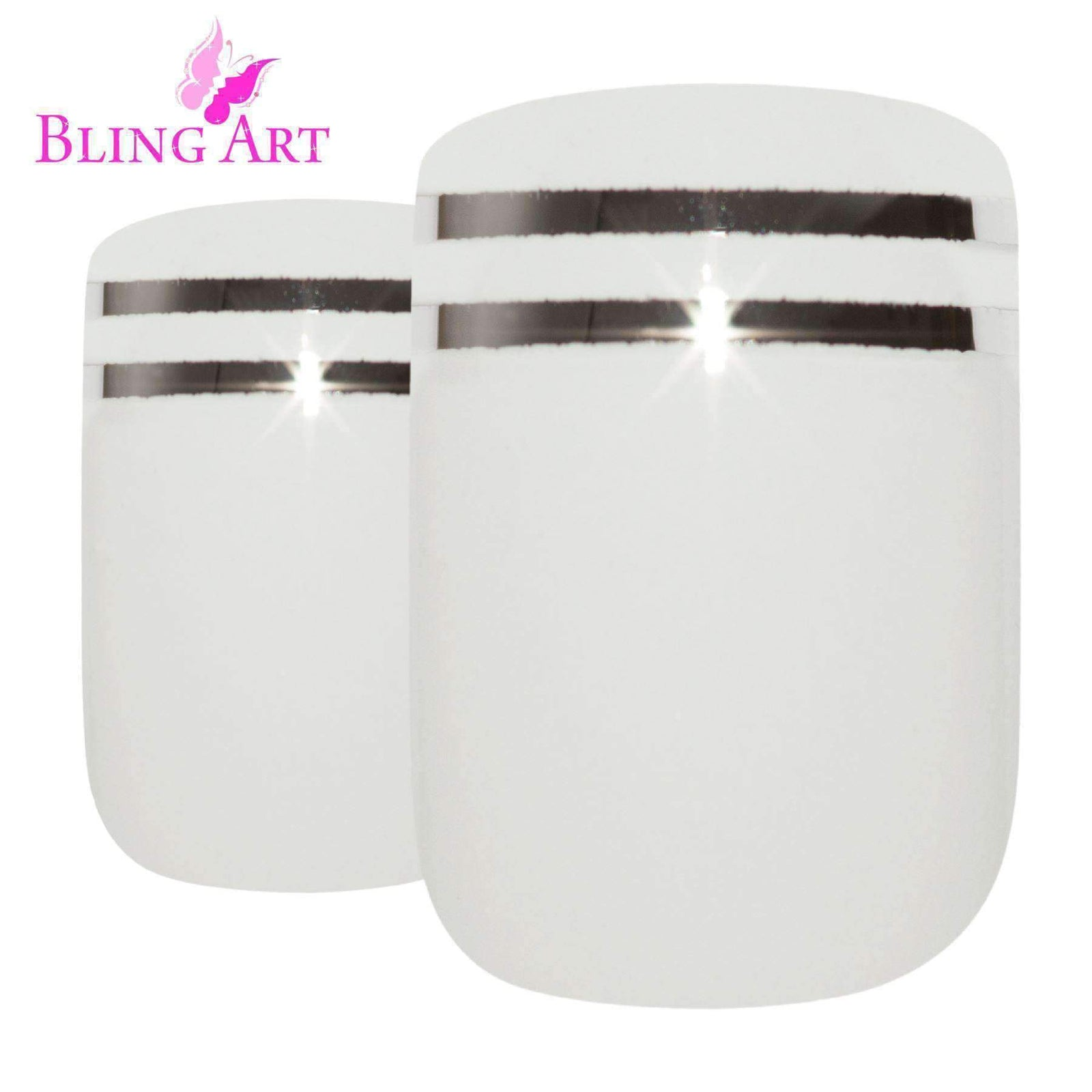 False Nails by Bling Art White Silver French Squoval 24 Fake Medium