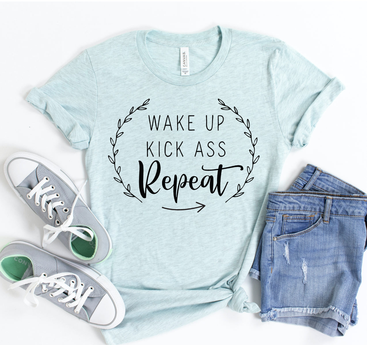 Wake Up Kick Ass Repeat T-shirt