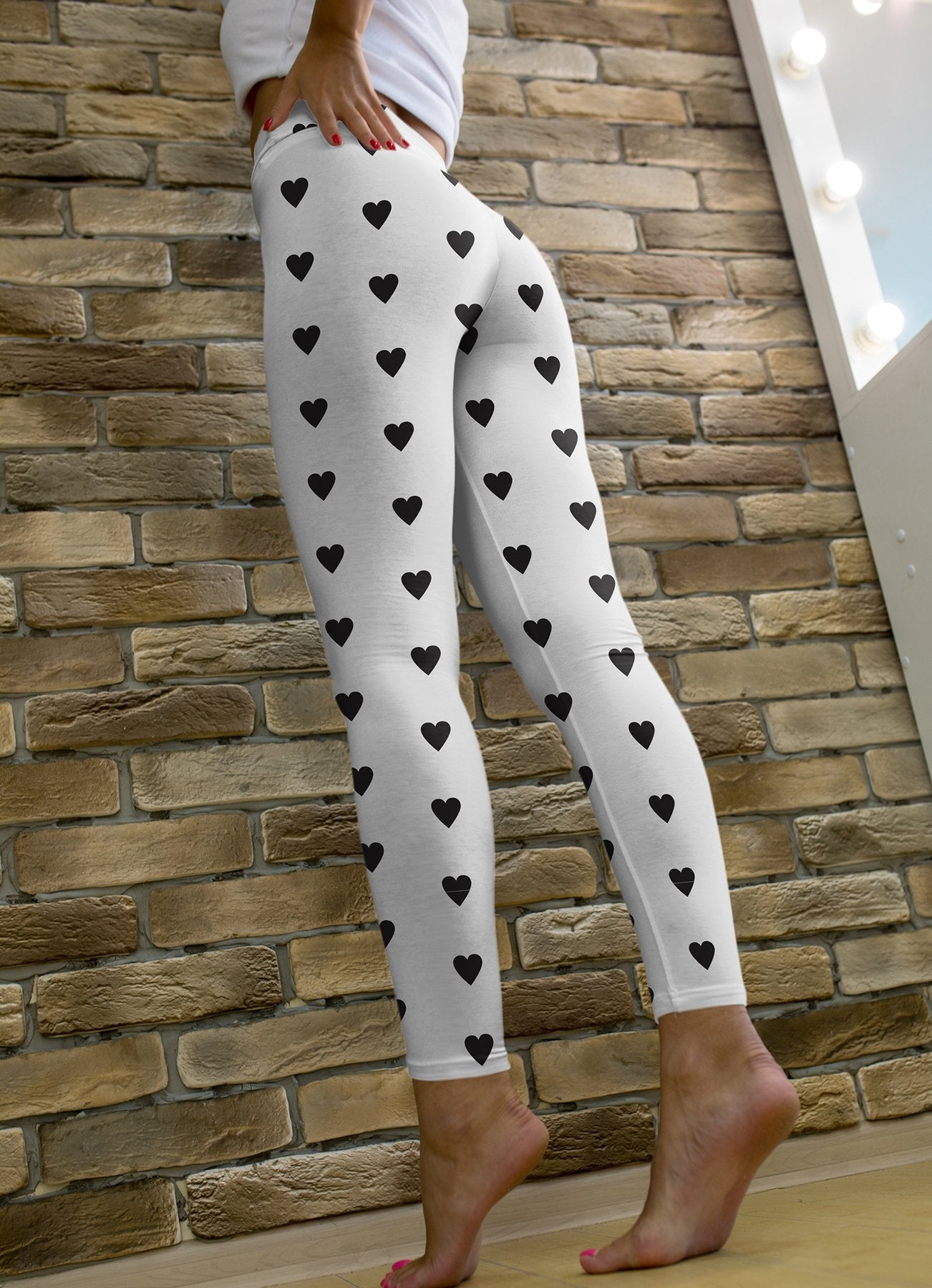 Black Hearts Printed leggings, Capris and Shorts