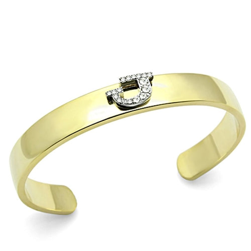 LO2579 Gold+Rhodium White Metal Bangle with Top