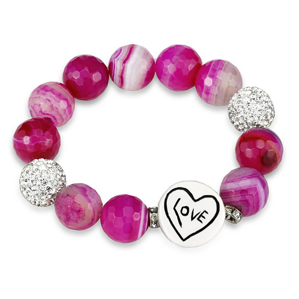 LO3789 - Antique Silver Brass Bracelet with Synthetic Onyx in Fuchsia