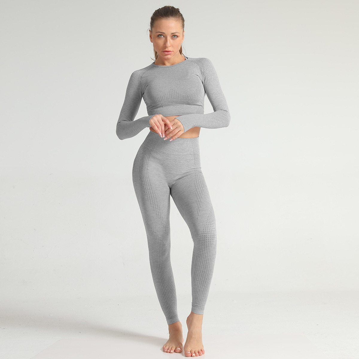 Lycra Seamless 2PCS Women Yoga Set Gym Clothing Fitness