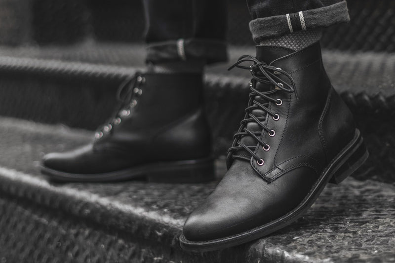 Black Matte President Lace-Up Boot