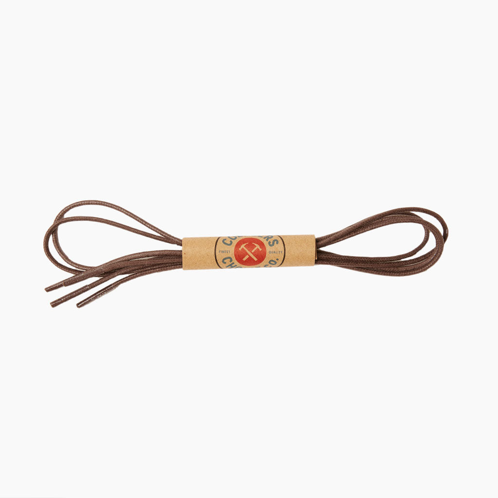 Round Waxed Cotton Shoe Laces | Brown