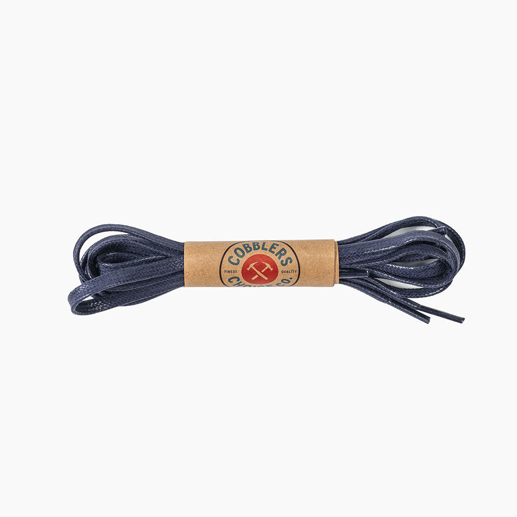 Flat Waxed Cotton Laces | Blue