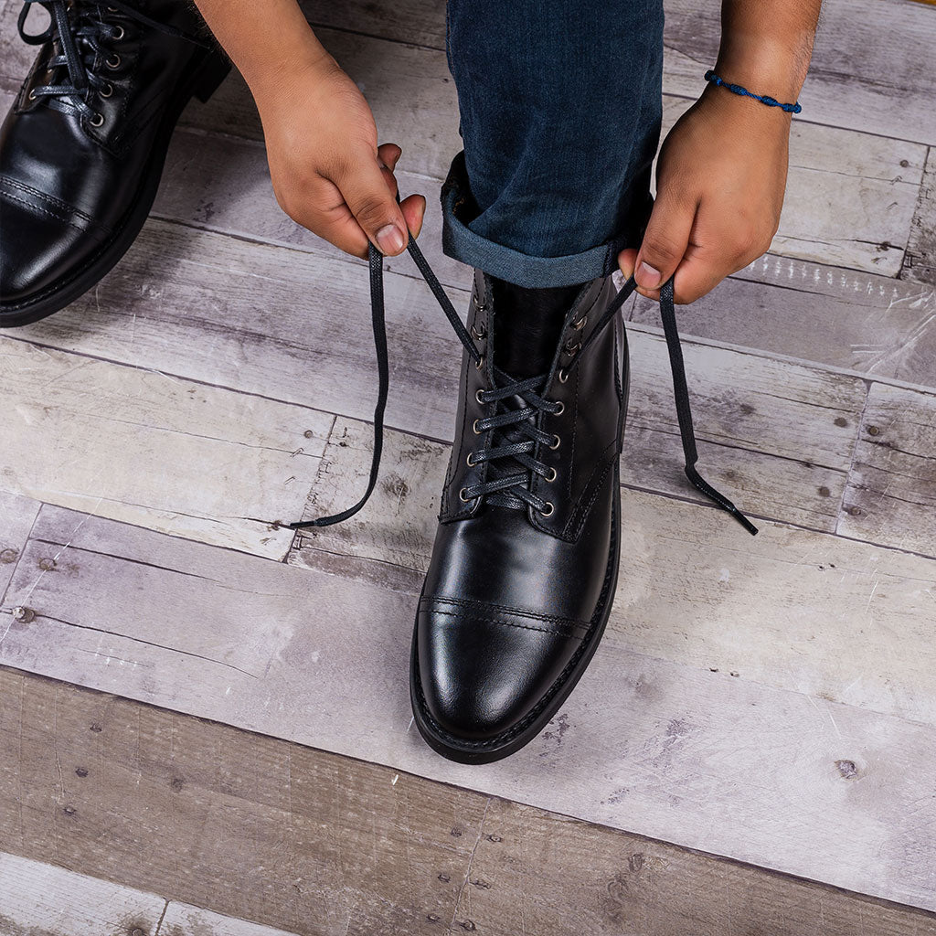Flat Waxed Cotton Laces | Black