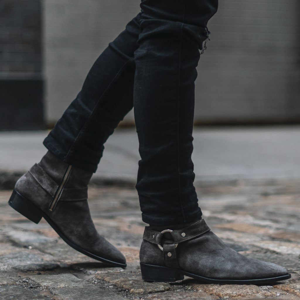 Men's Grey Suede Harness O-Ring Boot