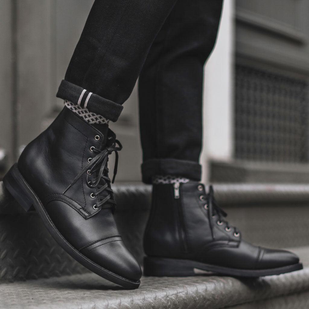 Men's Major Zip-Up Boot in Black Leather - Thursday Boot Company