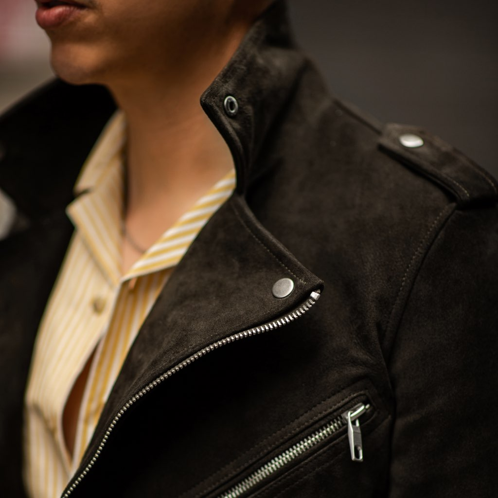 Motorcycle Jacket | Dark Olive Suede