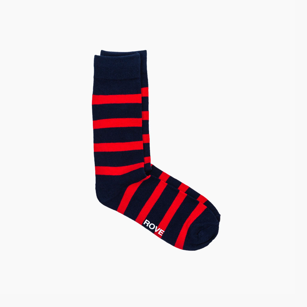 Rush & Rove Crew Socks | Navy + Red
