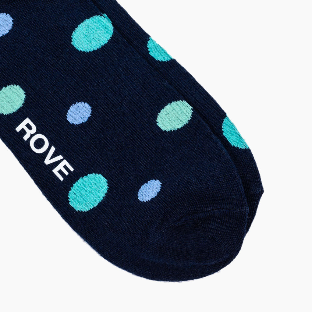 Rush & Rove Crew Socks | Navy Polka Dot