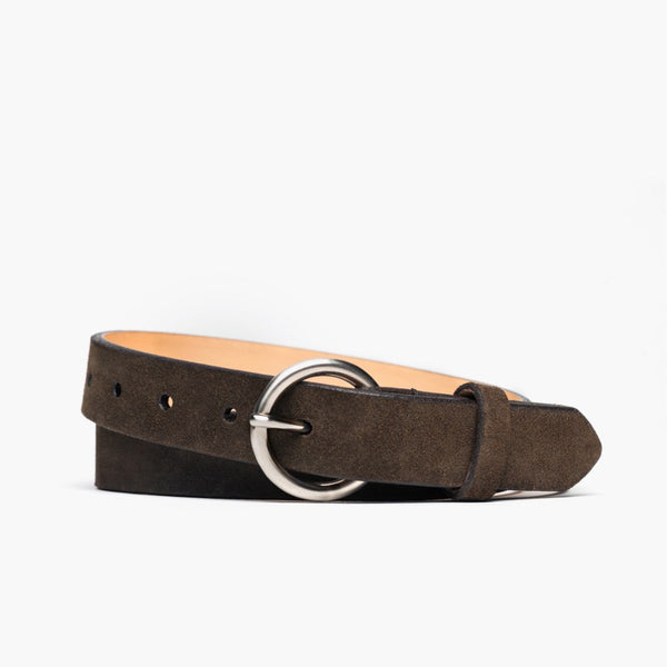Women's Circle Leather Belt | Dark Olive Suede