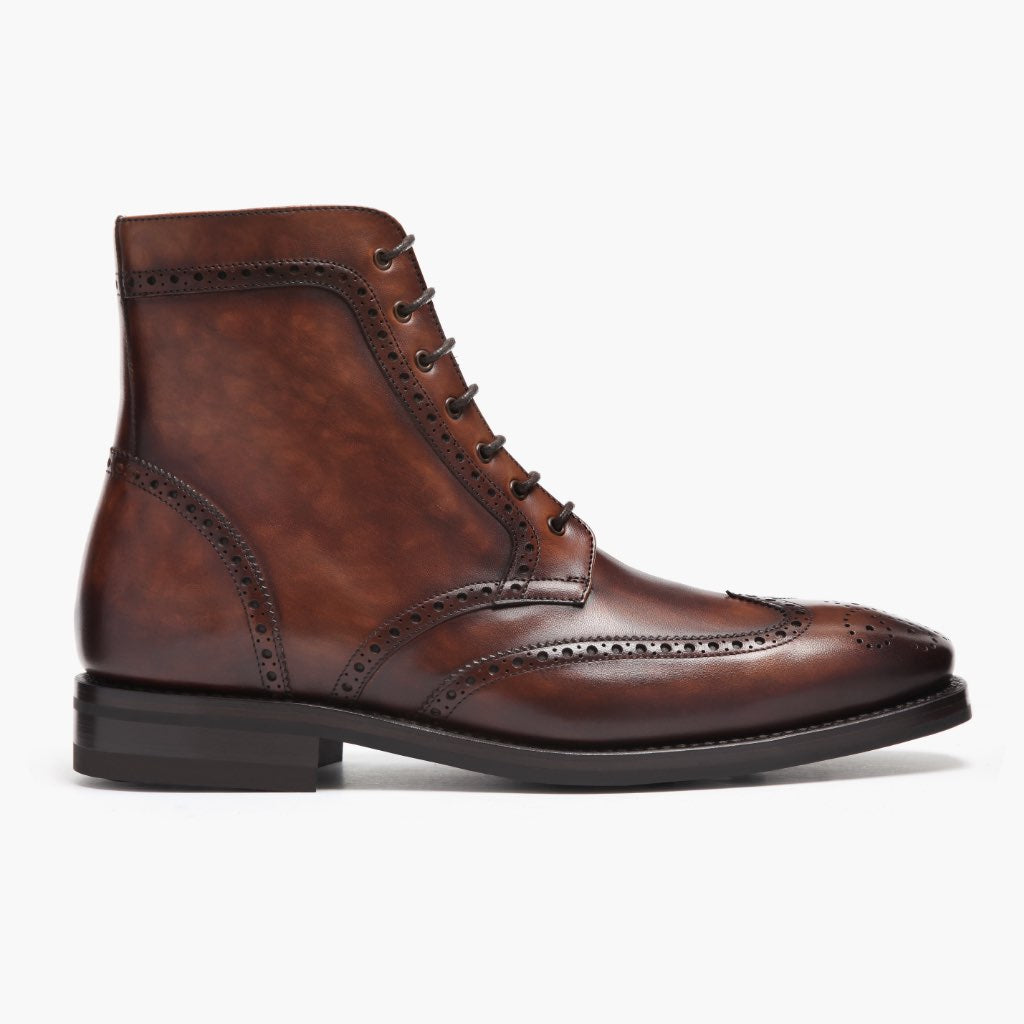 Men's Wingtip Boot in Color #77 Leather
