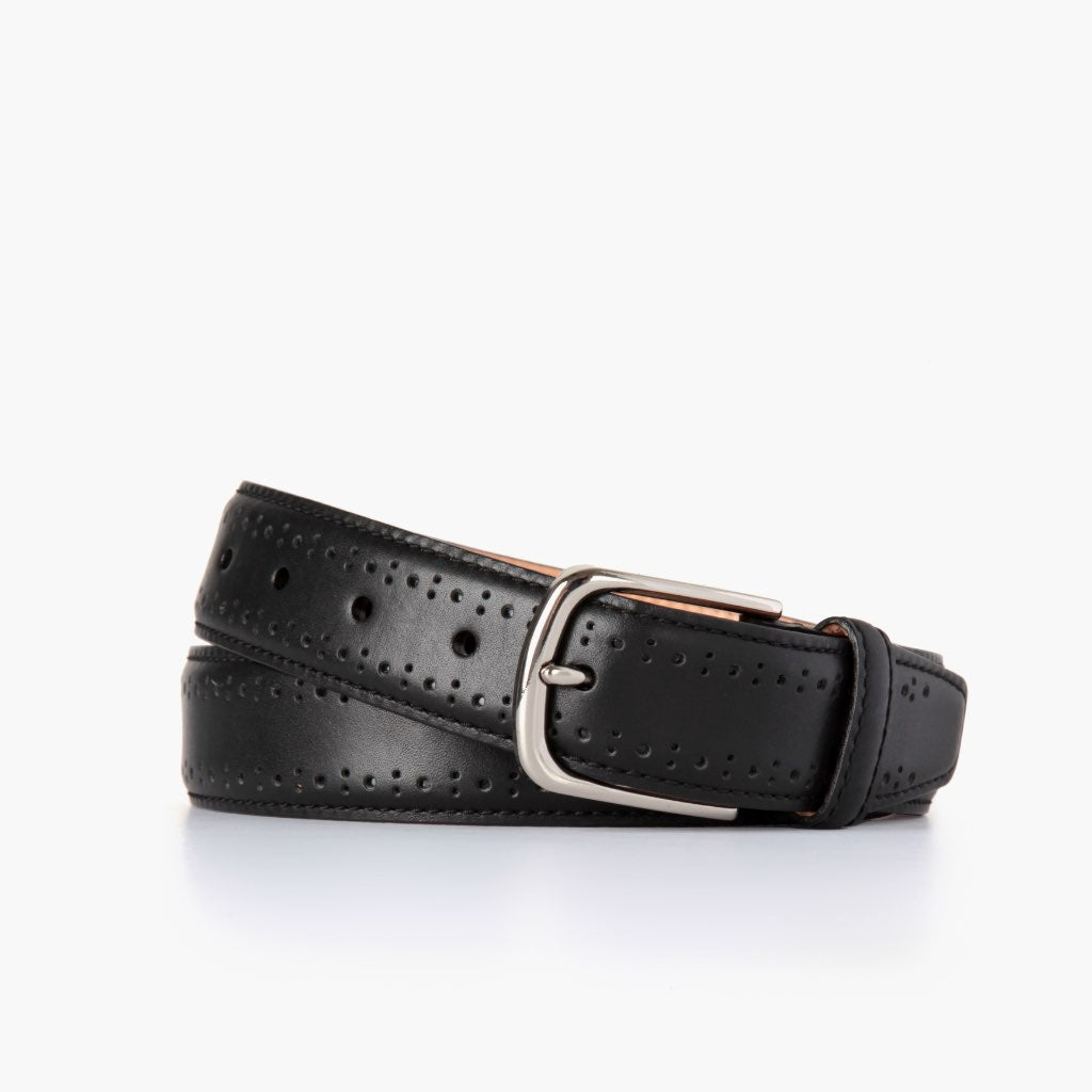 Men's Brogue Leather Belt | Black