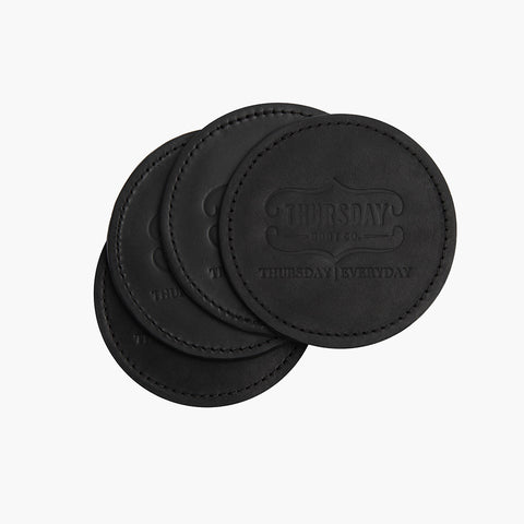 Black Leather Coaster Set