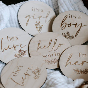 Wooden Announcement Discs