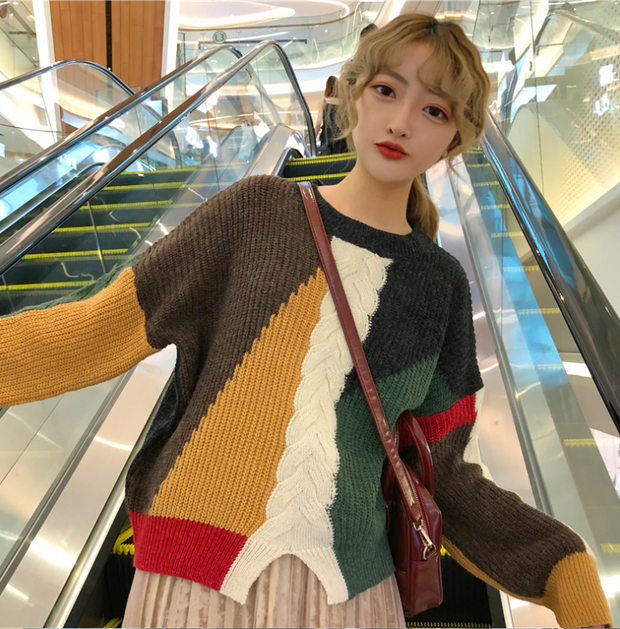 Wild color pullover sweater