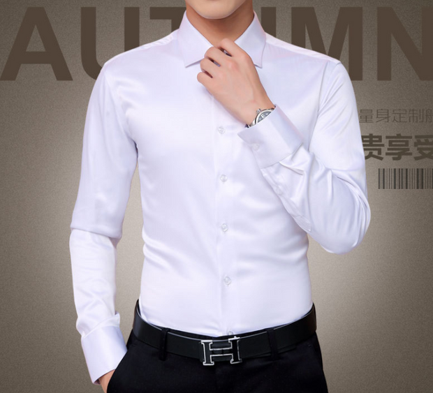 Men's solid white business print.