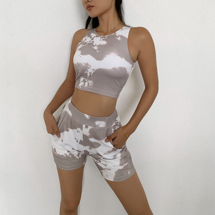 Women's Tie Dye Tee & Biker Shorts Set